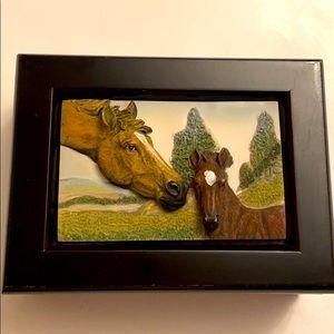 Vintage 3D horses design jewelry wood box